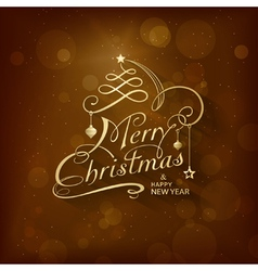 Golden Merry Christmas Card vector image vector image