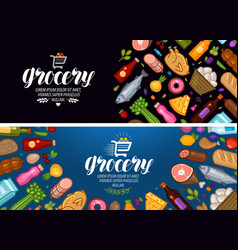 grocery store banner food and drinks label vector image vector image