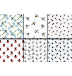 insects seamless patterns collection vector image
