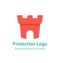 protection branding with red fortress vector image vector image