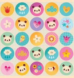 circles pattern baby panda bears flowers clouds vector image