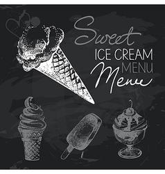 Ice cream hand drawn chalkboard design set vector image