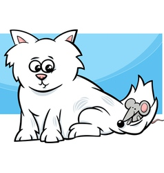 kitten with mouse cartoon vector image vector image
