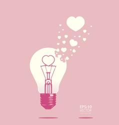 Light bulb of love concept vector
