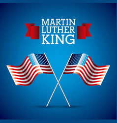 Martin luther king card pair flag american crossed vector