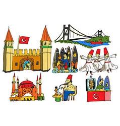 7 authentic caricatures of Turkish scenes vector image vector image