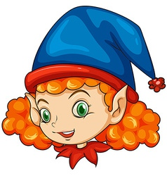 An elf wearing a blue hat vector image vector image