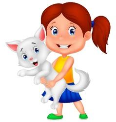 Happy cartoon little girl hugging her pet vector image vector image