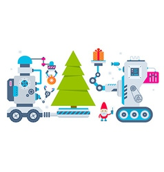 horizontal of the gnome operates the machine vector image