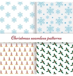 Set of four simple Christmas patterns vector image