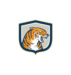 Angry Tiger Head Sitting Growling Shield Retro vector image vector image