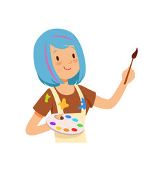 artist character girl with blue hairs holding vector image vector image