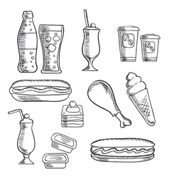 Fast food with dessert and drinks sketch icons vector image vector image