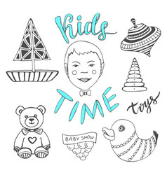 hand drawn kids toys with boy and lettering - vector image