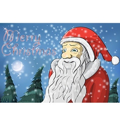 Merry Christmas moon snow Santa Claus vector image