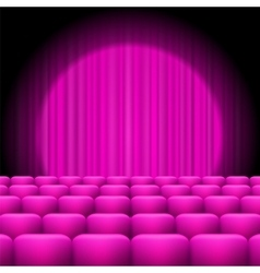 Pink Curtains with Spotlight and Seats vector image vector image