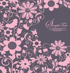 purple abstract floral card vector image
