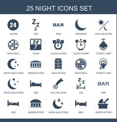 25 night icons vector