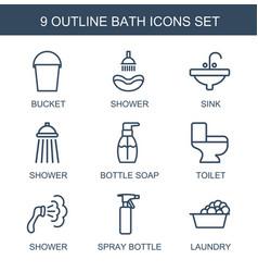 9 bath icons vector