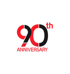 90 years anniversary logotype with black and red vector