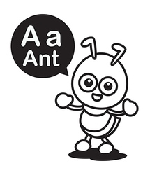 A ant cartoon and alphabet for children to vector image