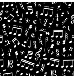 a lot music signs and note on black background vector image