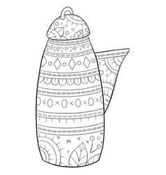 Adult coloring bookpage a cute tea pot vector