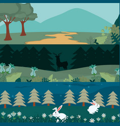Animals and forest cartoon vector