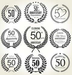 Anniversary laurel wreath collection 50 years vector