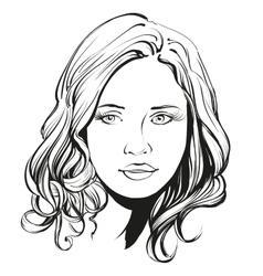 beautiful woman face hand drawn vector image