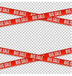 Big sale red banners set of warning tapes vector