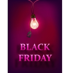 Black friday sale background with lamp vector image