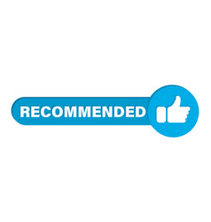 Blue banner recommended with thumbs up vector