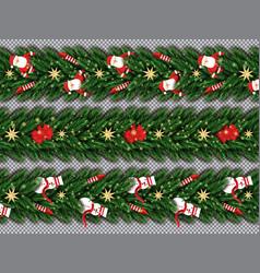 border set with santa claus christmas tree vector image