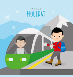 boy train railway mountain travel holiday vector image