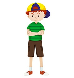 Boy wearing cap and shorts vector image