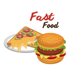 Burger pizza fast food design isolated vector
