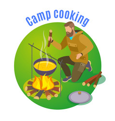 Camp cooking circle background vector