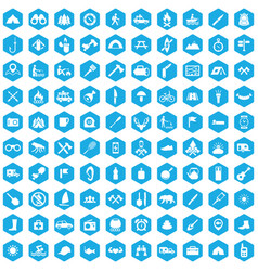 Camping 100 icons universal set for web and ui vector