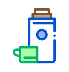camping thermos with drink icon outline vector image