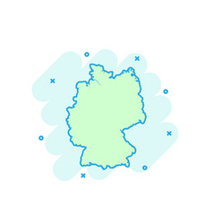 cartoon colored germany map icon in comic style vector image