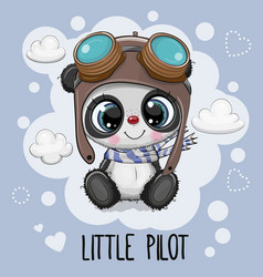 Cartoon panda in a pilot hat on a blue background vector