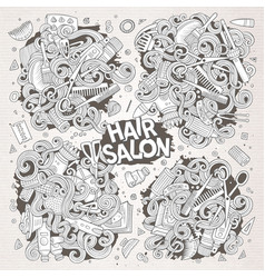 Cartoon set of doodle hair salon designs vector