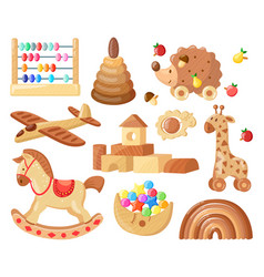 cartoon wooden toys kids vintage wooden toys vector image