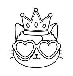 cat with heart sunglasses and crown black and vector image