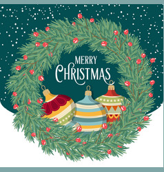 christmas card with wreath and balls vector image
