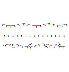 christmas lights flat style vector image