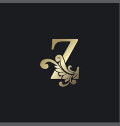 Classy gold letter z luxury decorative initial vector