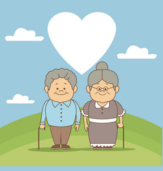 color background scene in landscape elderly couple vector image