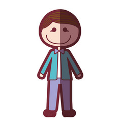 Color silhouette shading cartoon young with formal vector